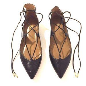 Aquazzura Dancer Leather Lace Up Flats!!